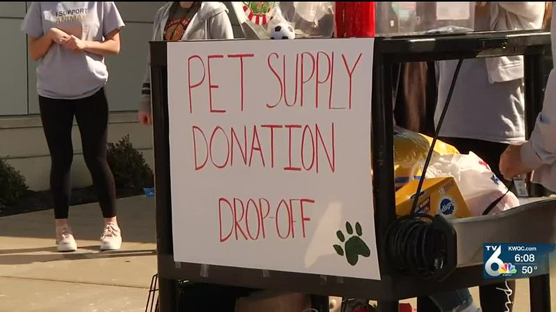 Bettendorf High School students host pet donation drop off event