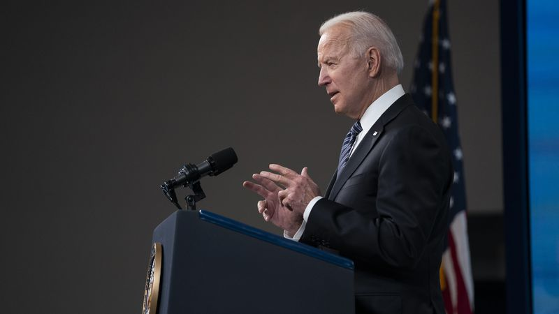 President Joe Biden delivers remarks about COVID-19 vaccinations in the South Court Auditorium...
