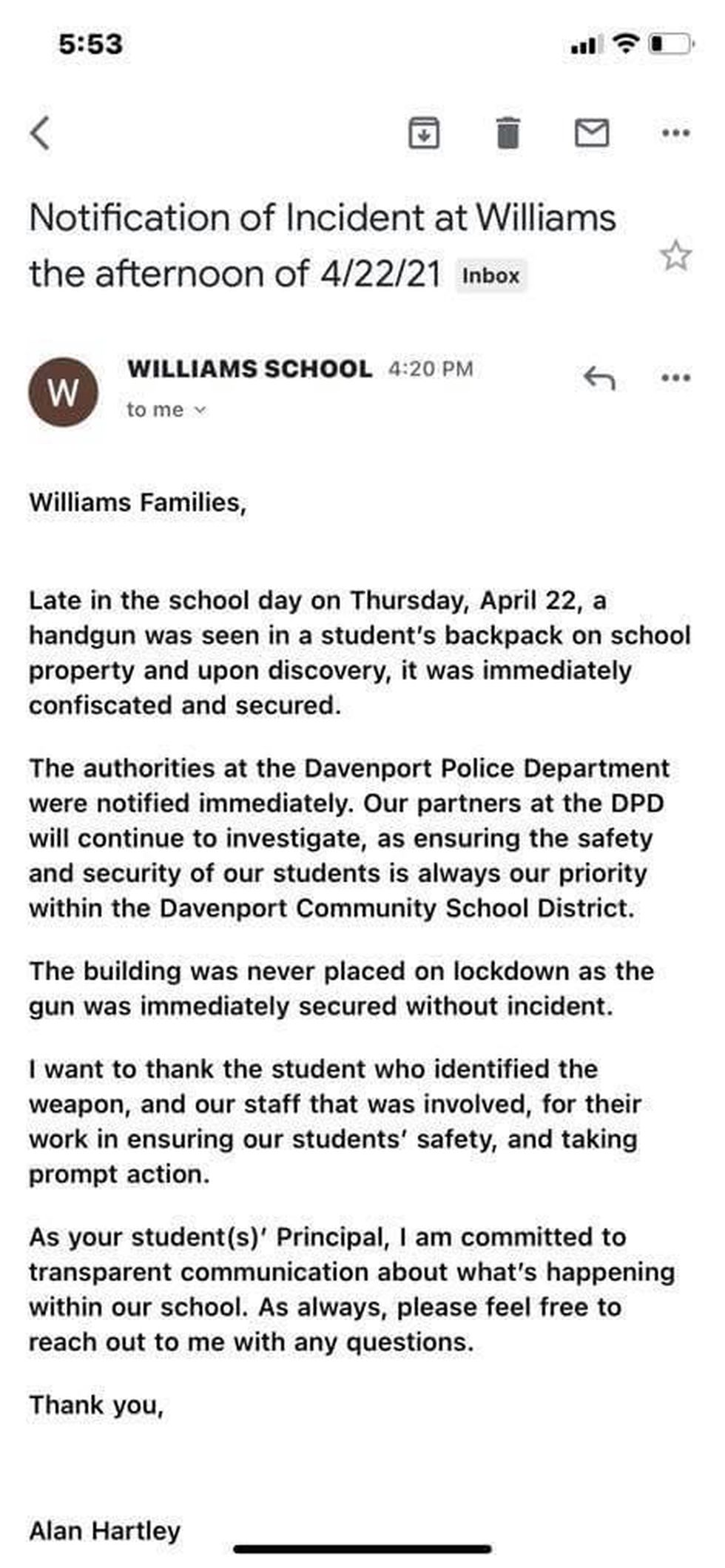 Parents at Williams Intermediate receive email about a gun found at school April 22