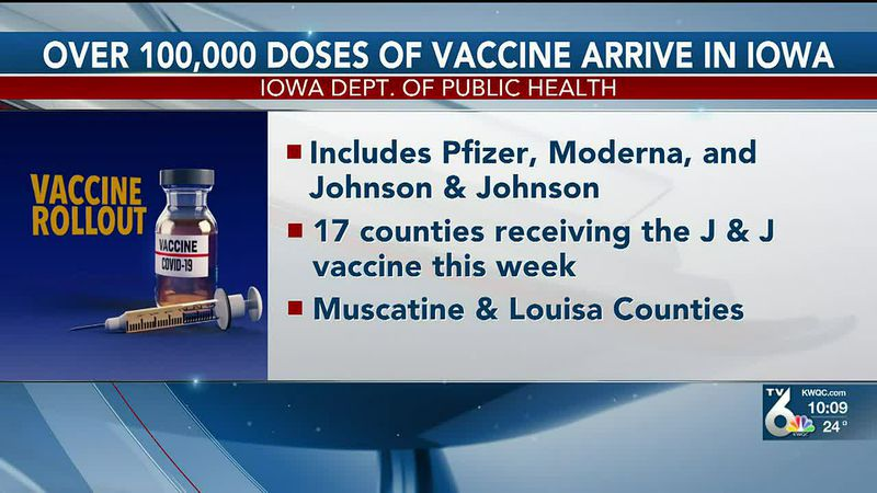 The Iowa Department of Public Health saID the state would be able to give out 100,000 COVID-19...