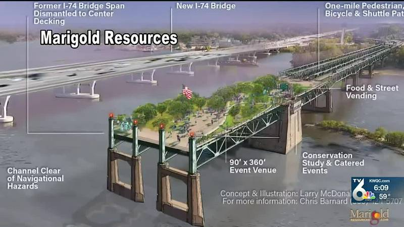 Davenport group hoping to create pier in Moline with remains of old I-74 Bridge