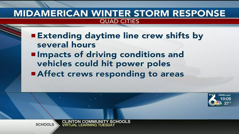 MidAmerican has sent out a minimum of two people to respond to incidents throughout the winter...