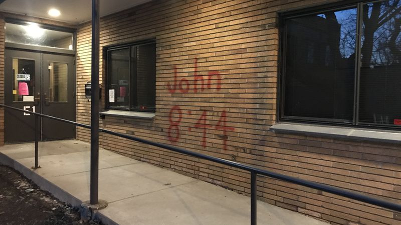 Temple Emanuel in Davenport had a biblical citation spray-painted on the entrance, something...