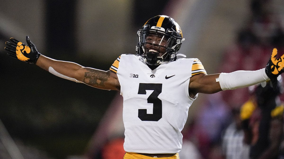 Iowa wide receiver Tyrone Tracy Jr. reacts after scoring a touchdown against Maryland during...