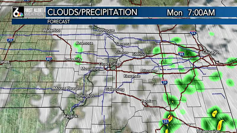 Showers early Monday