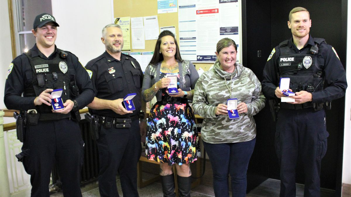 The city of Muscatine awarded five police officers on Thursday for their honorable live-saving...