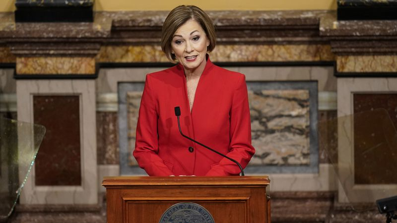 Iowa Gov. Kim Reynolds delivers her Condition of the State address before a joint session of...