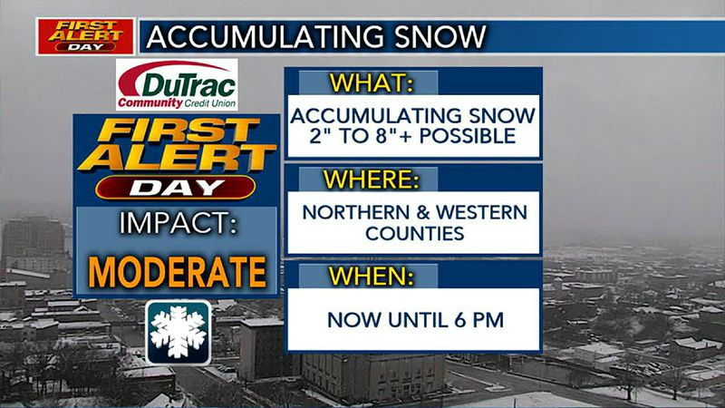 Light snow expected to continue across our northern counties this afternoon.