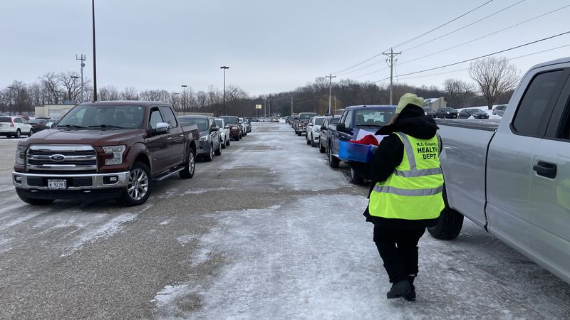 There was traffic reported in Milan on Tuesday due to long lines at the COVID-19 vaccine site.