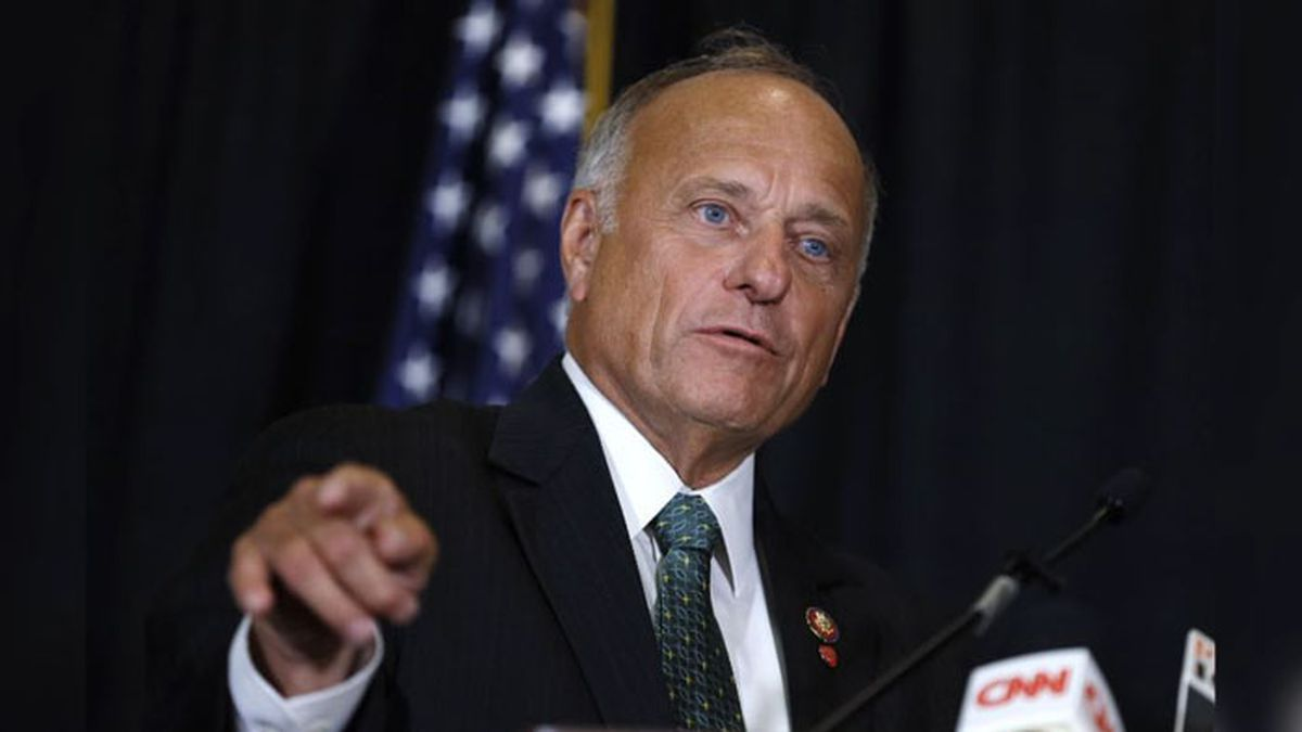 In this Aug. 23, 2019, file photo, Rep. Steve King, R-Iowa, speaks during a news conference in Des Moines, Iowa. (Source: AP Photo/Charlie Neibergall, File)