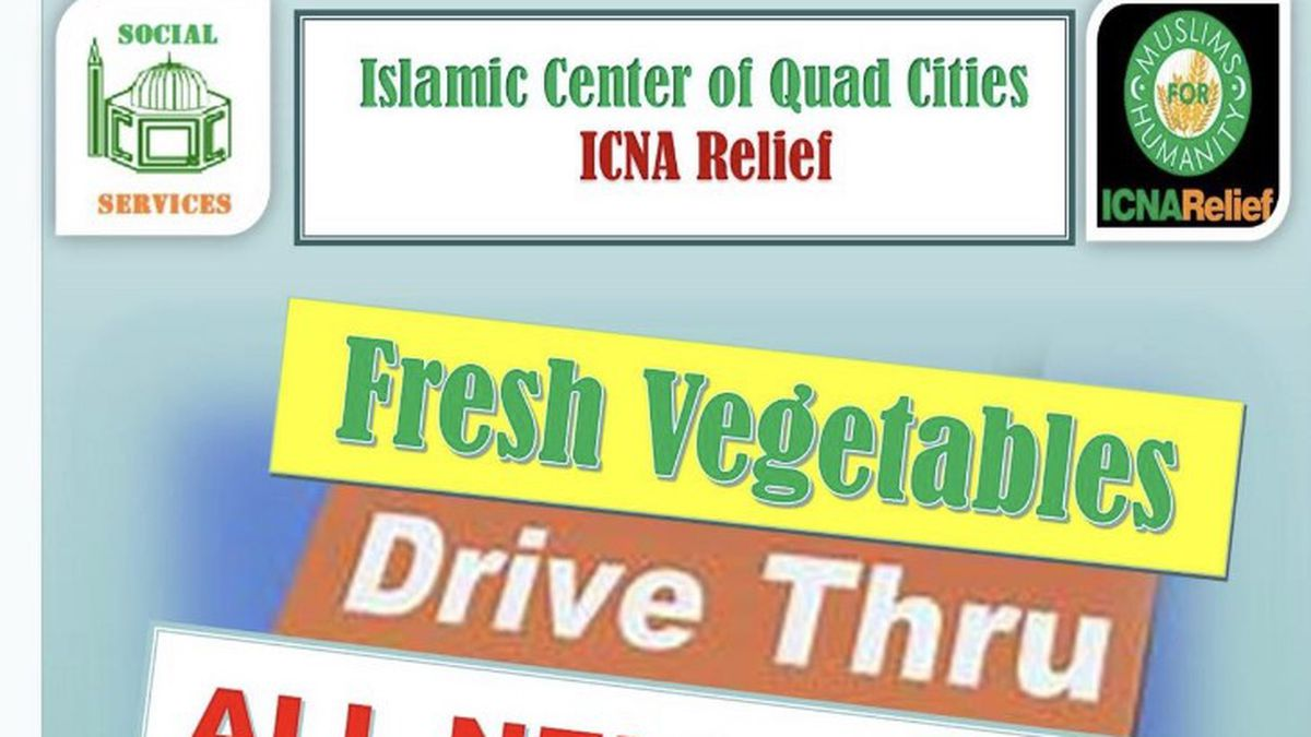 The Islamic Center of the Quad Cities will host a food drive on Saturday, June 27 to support local families amid COVID-19.