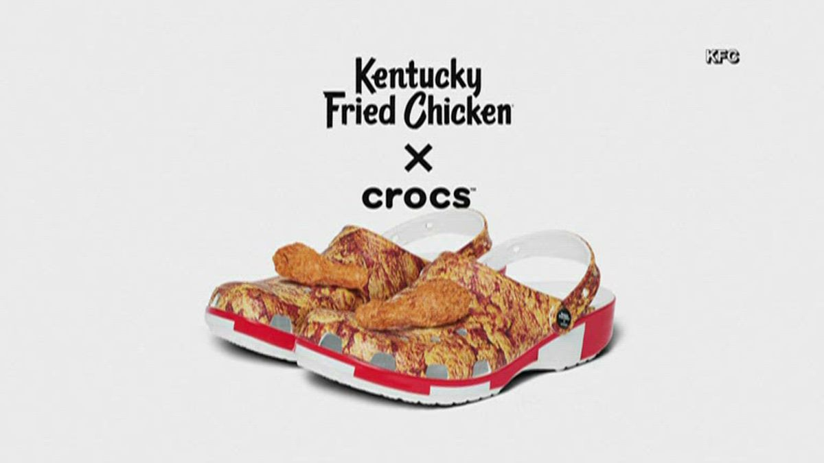 "The footwear company and fast food chain have created the KFC by Crocs ""Bucket Clog."" (NBC)"