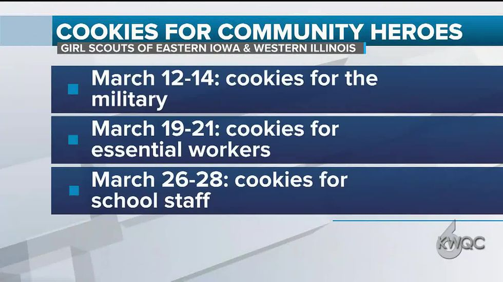 Girl Scout troops give back to community heroes with cookie donations.