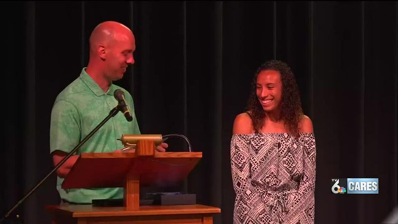 Tori Thomas celebrates record breaking State Championship performance