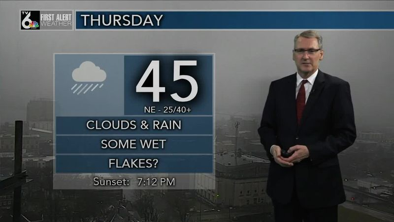 First Alert Forecast - Cold rain continues into a windy Thursday
