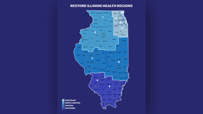 Illinois Dept. of Public Health Restore Illinois Region map