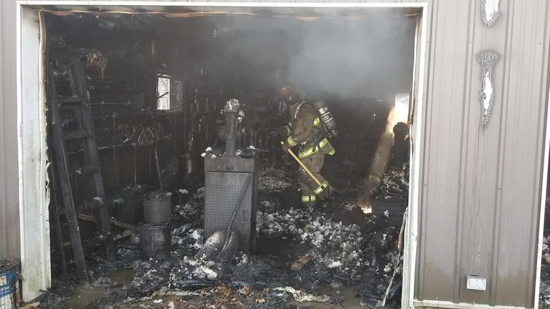 Multiple fire departments responded to a fire at a pole barn in Wapello on Tuesday.