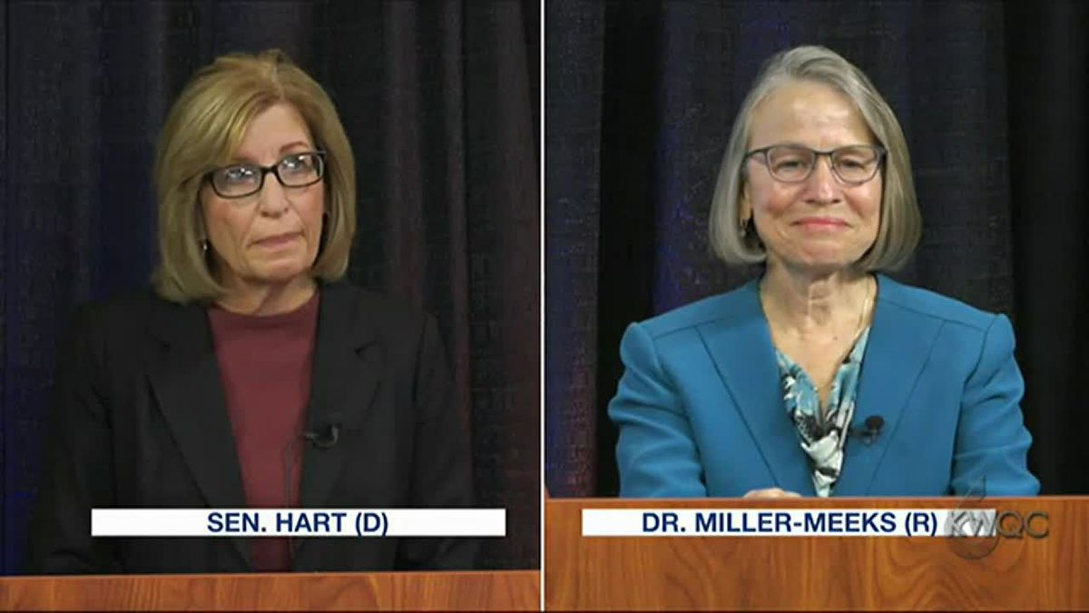 Republican Mariannette Miller-Meeks and Democrat Rita Hart discuss political party dialogue and...