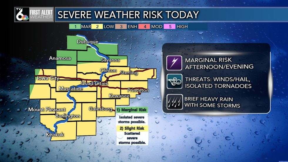 SEVERE WEATHER RISK TODAY from Noon until 8 PM