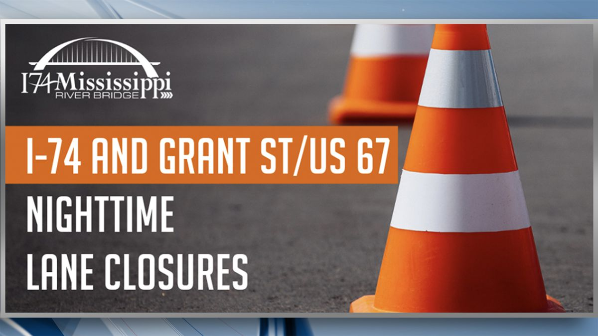 Starting on Thursday, September 5, there will be nighttime intermittent lane closures on eastbound and westbound I-74 between Middle Road in Bettendorf and River Drive in Moline. This is dependent on the weather. (I74 River Bridge)