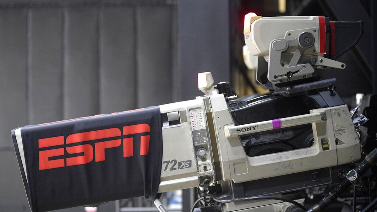 In this July 26, 2020, file photo, a television camera is seen during an ESPN broadcast in the...