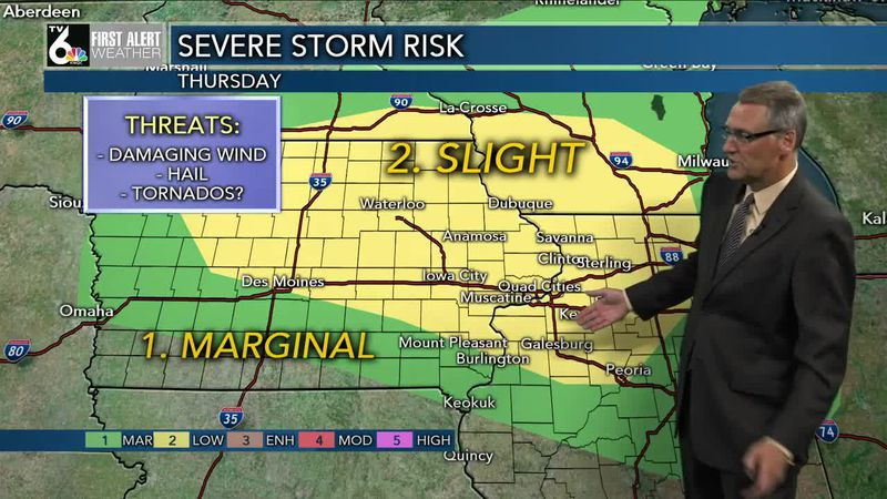 Strong/severe storms possible Thursday morning and evening.