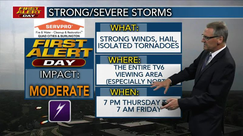 First Alert Forecast - Strong storms possible Thursday evening and into the night