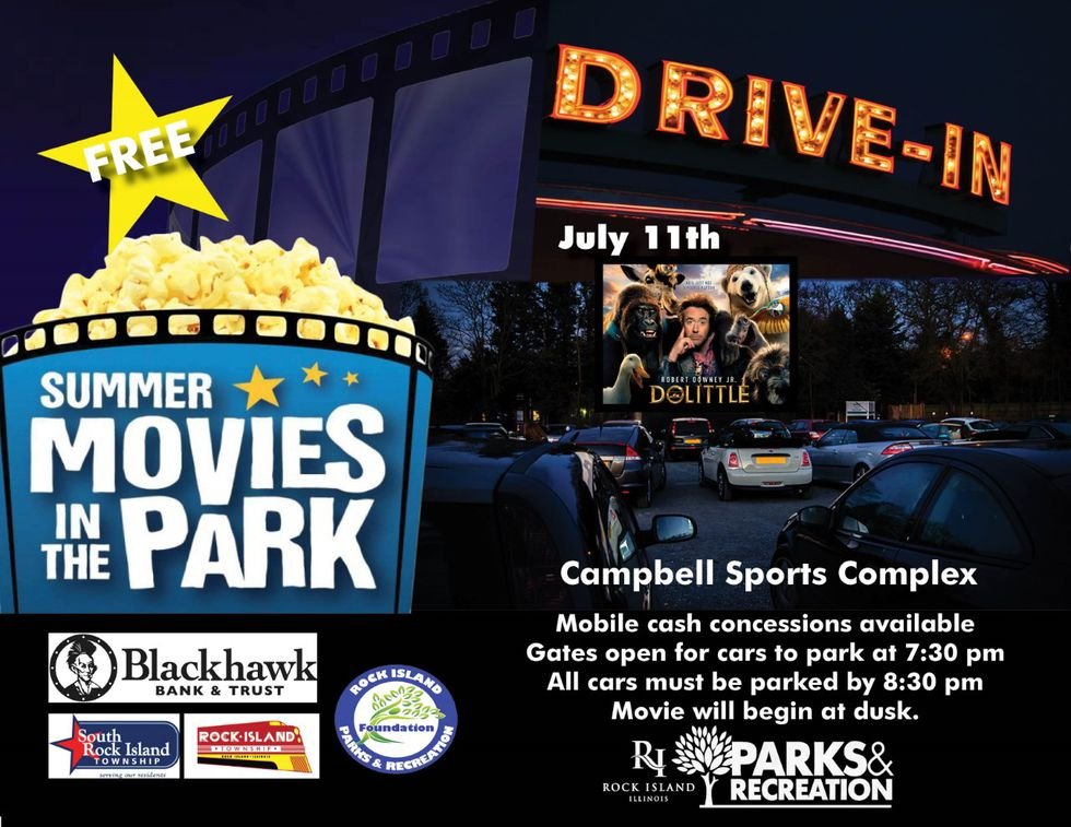 Rock Island Parks and Recreation announced it will host a drive-in movie in the park on Saturday, July 11th.