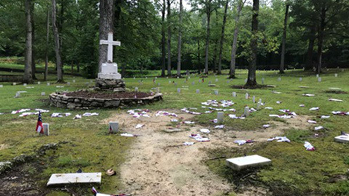 """A deputy found dozens of Confederate flags scattered on the ground. Some of them spelled out """"stop racism."""""""