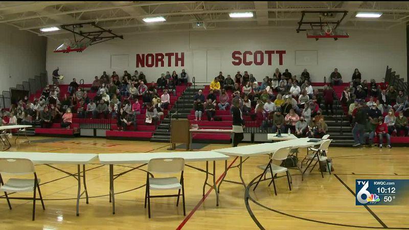 Over 100 gather for North Scott school board meeting regarding High School, Junior High...
