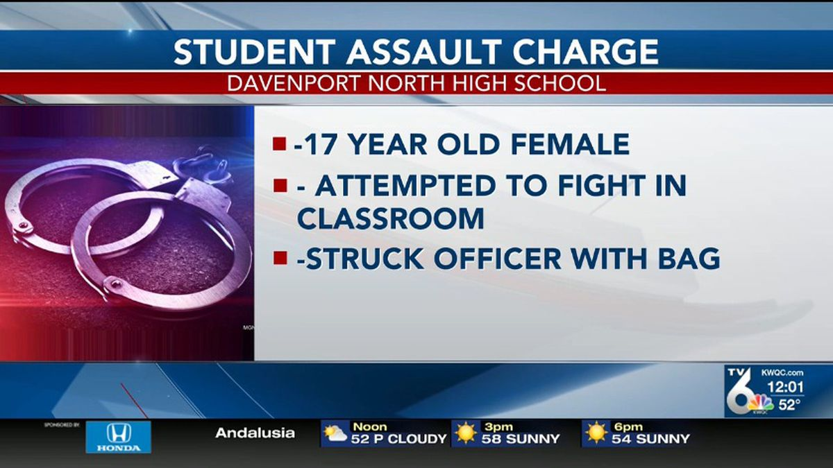 Police say a 17-year-old student has been charged after say hit an officer in the face with a bag and a textbook. On Wednesday, Oct. 16, police were called to North High School for a disturbance. Upon arrival, officers were informed of a student who was attempting to fight another student.