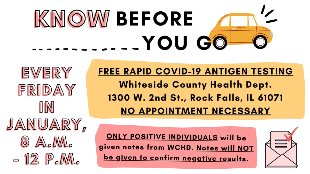 Testing will be free and no appointments are necessary.