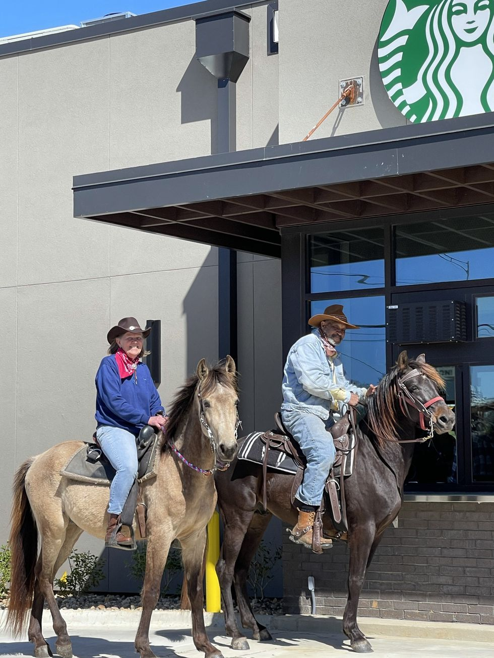 This pair was spotted Monday, March 29, 2021 in line at a new Starbucks that just opened in...