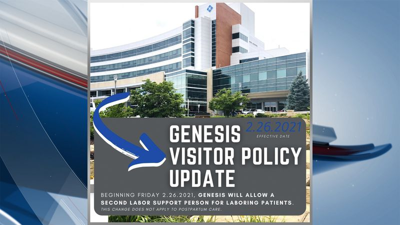Genesis will be allowing a second labor support person for laboring patients starting Friday,...