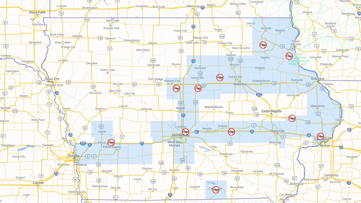 According to the Iowa Department of Transportation's website, there are tow bans in effect in several counties in the state. (Iowa DOT)