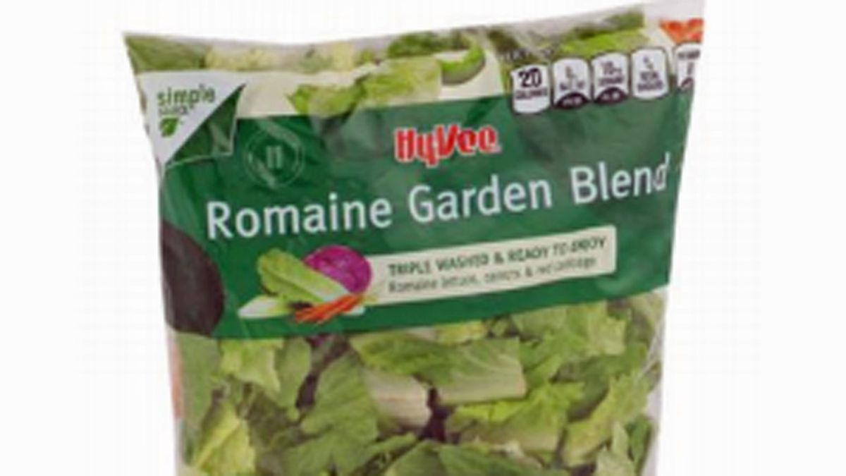An example of a Hy-Vee Romaine Garden Blend salad mix, part of a recall of 13 products due to a potential contamination with the parasite cyclospora.