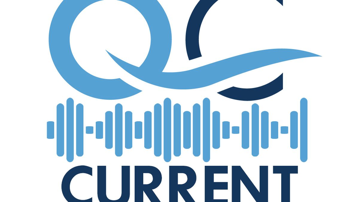 Logo for QC Current, a new radio show created by Visit Quad Cities, and hosted by Hannah Ginder.