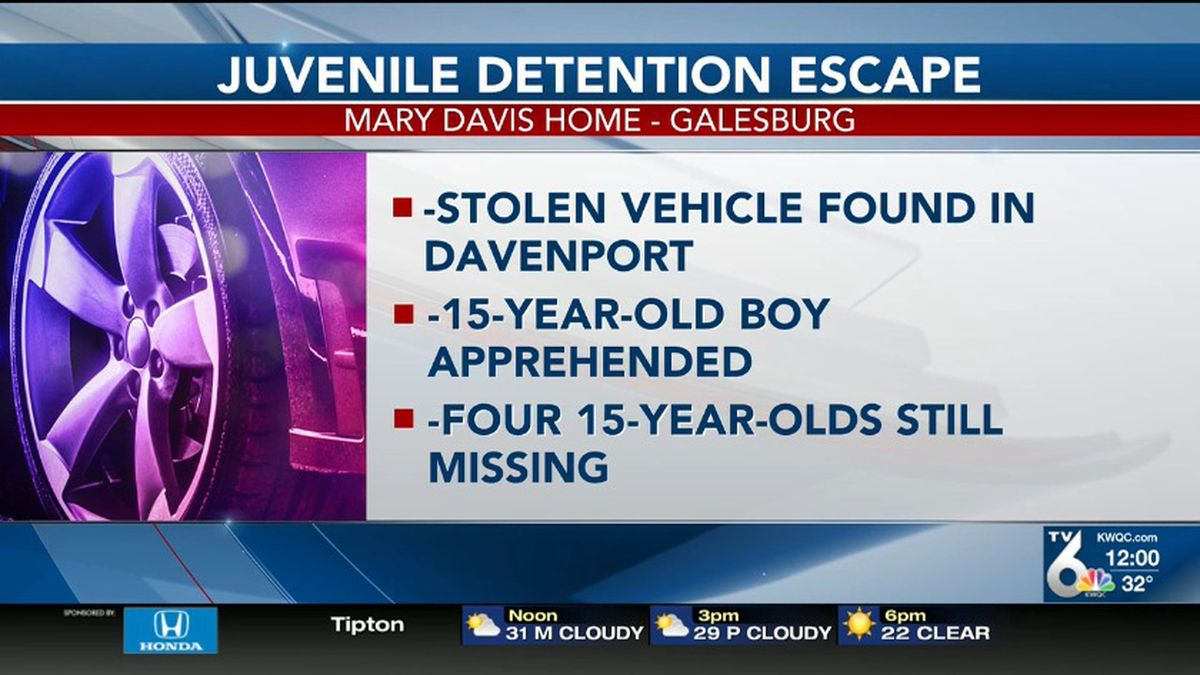 Police are searching for four missing juveniles after police say they escaped from the Mary Davis Home Detention Center in Galesburg, Illinois. (KWQC)
