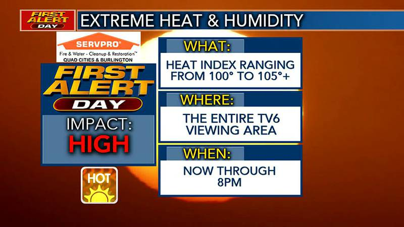 FIRST ALERT DAY in effect now through 8 PM for extreme heat and humidity