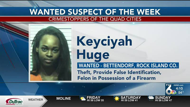 Keyciyah Huge, 23, is wanted by the Bettendorf Police Department on charges of theft,...
