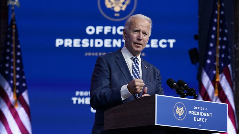 President-elect Joe Biden speaks at The Queen theater, Tuesday, Nov. 10, 2020, in Wilmington,...