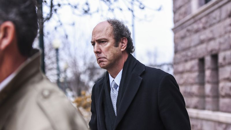 FILE - In this Nov. 26, 2019 file photo, Paul Erickson leaves the federal courthouse in Sioux...