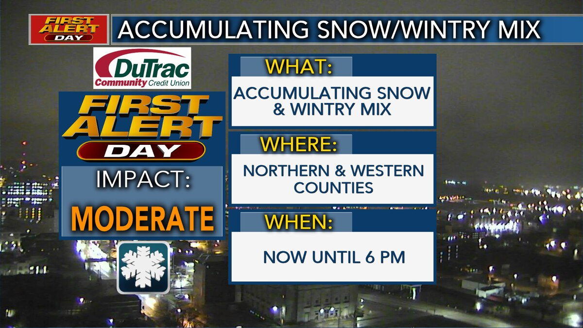 FIRST ALERT DAY for accumulating snow north and west until 6 PM