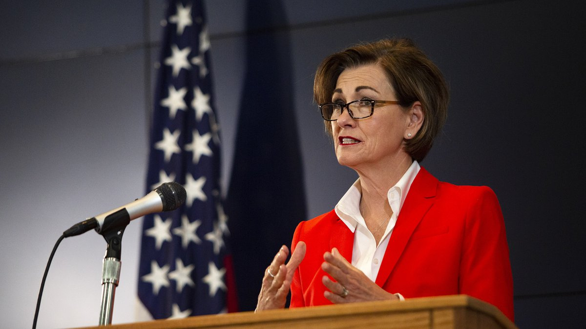 Iowa Governor Kim Reynolds holds a news conference on COVID-19 at the State Emergency...