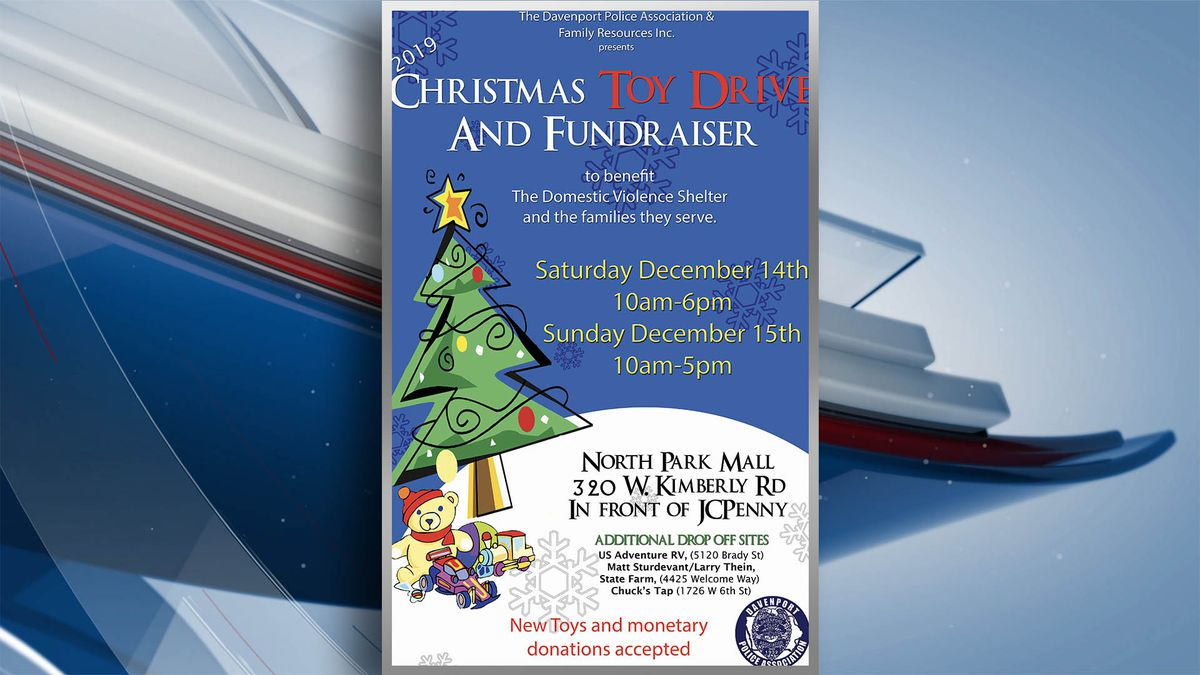The Davenport Police Association is sponsoring the Family Resources Inc. Christmas Toy Drive on Saturday, Dec. 14. This will start at 10 a.m. and go until 6 p.m. on Saturday and then again on Sunday from 10 a.m. to 5 p.m. (KWQC)