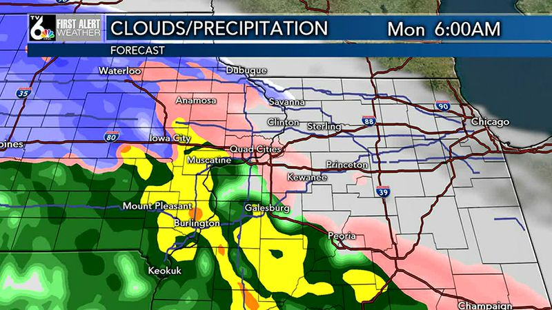 Cloudy and quiet today/Wintry mix changes to snow early Monday. A FIRST ALERT DAY will be in...