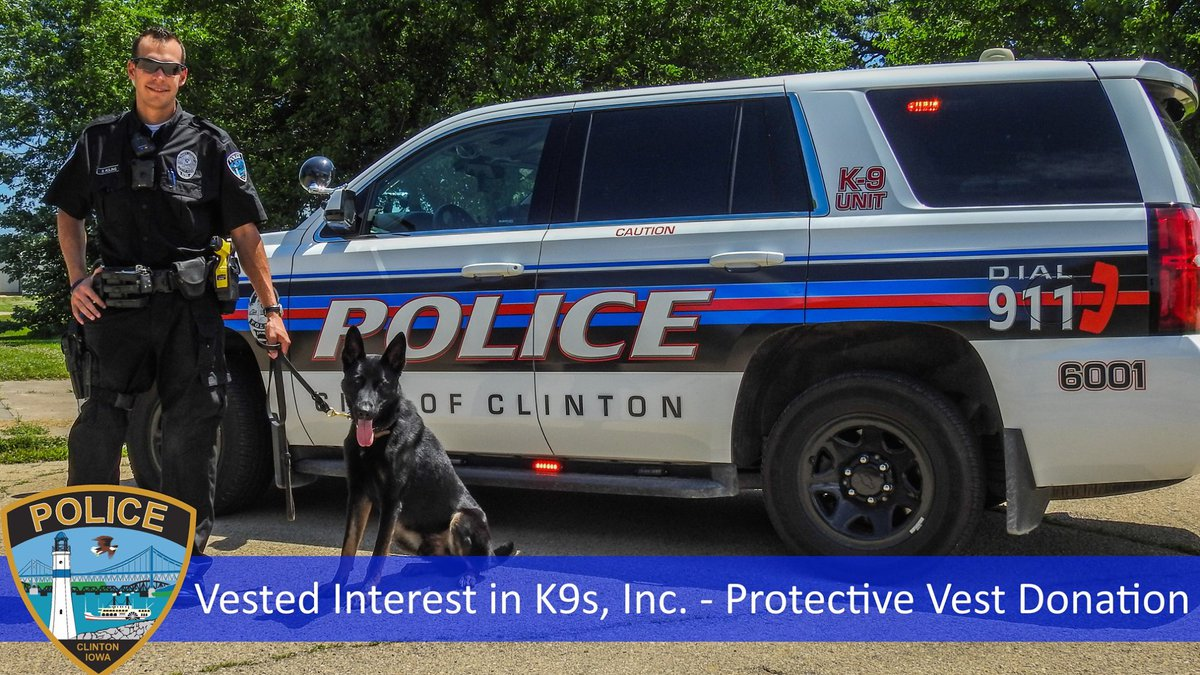 K9 Roman with the Clinton Police Department will receive new body armor in the coming weeks,...