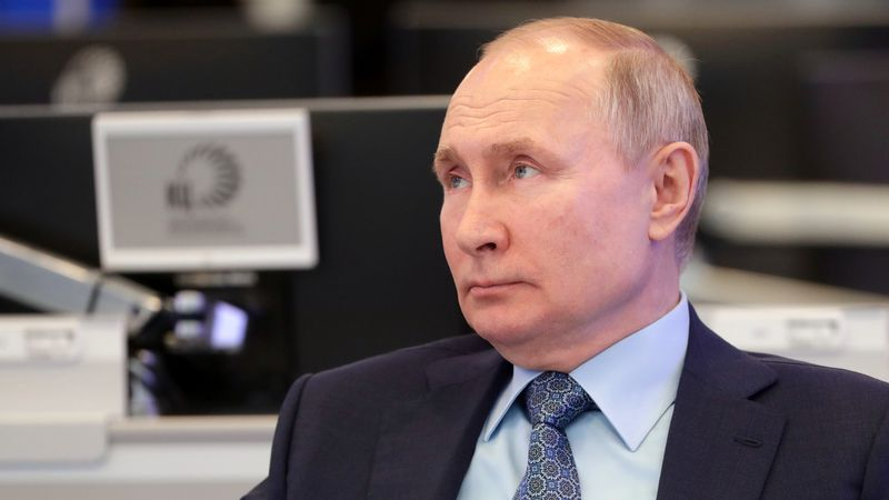 Russian President Vladimir Putin visits the Coordination Center of the Russian Government in...