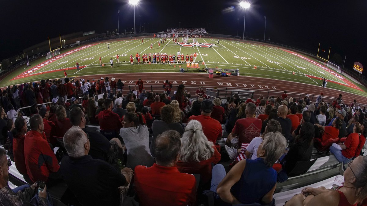 Fans fill the stadium at the football field at Whitewater High School on Friday, Oct. 1, 2021,...