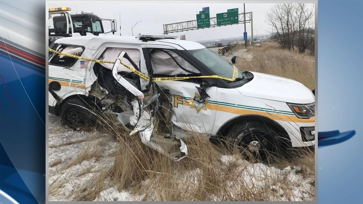 """A Polk County deputy """"narrowly escaped"""" being hit after a semi driver lost control on I-80. Officials with the Polk County Sheriff's Office posted the photos to Facebook on Thursday. (KWQC/Polk County Sheriff's Office)"""